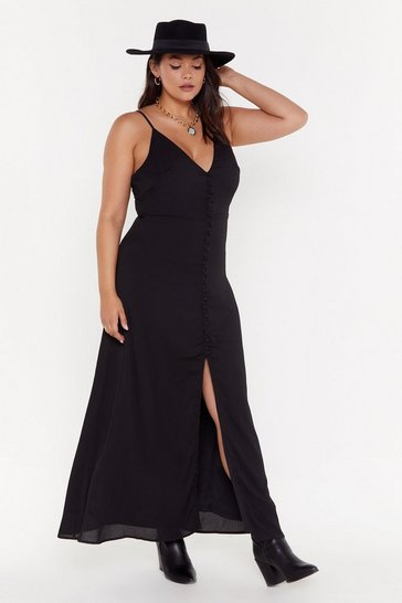 Womens Black Don't Take Any Slit Button-Down Maxi Dress