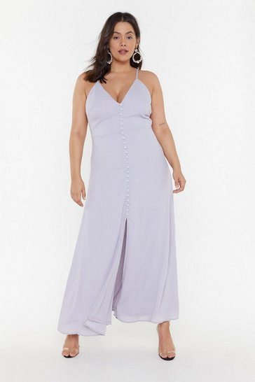 Cornflower blue Don't Take Any Slit Button-Down Maxi Dress
