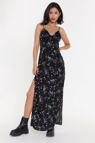 Womens Black Knot Your Average Girl Floral Maxi Dress