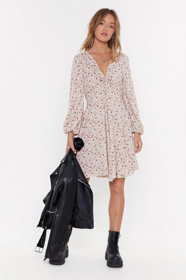Womens Beige Twist Front Tea Dress In Floral Print MS