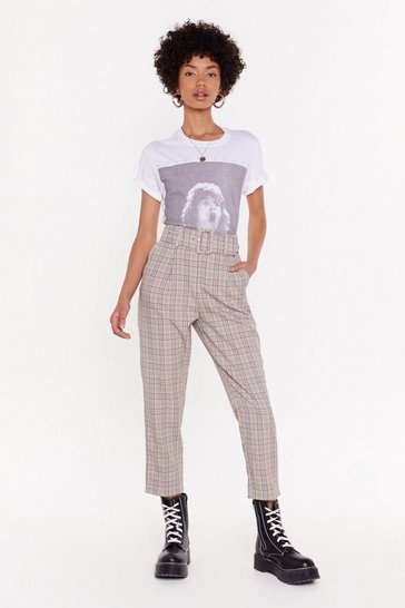 Womens Beige Check 'Em Out High-Waisted Belted Pants