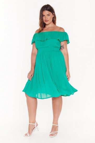 Womens Green I'm a Frillseeker Off-the-Shoulder Midi Dress