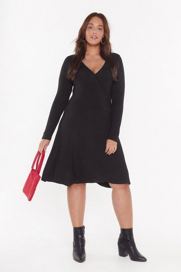 Black A Plus Looks Wrap Jersey Dress