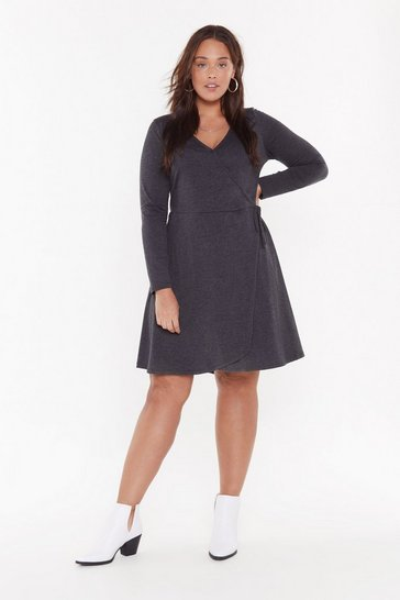 Womens Grey A Plus Looks Wrap Jersey Dress