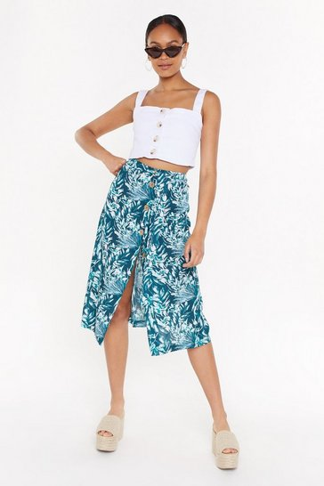Green Floral Belted Midi Skirt