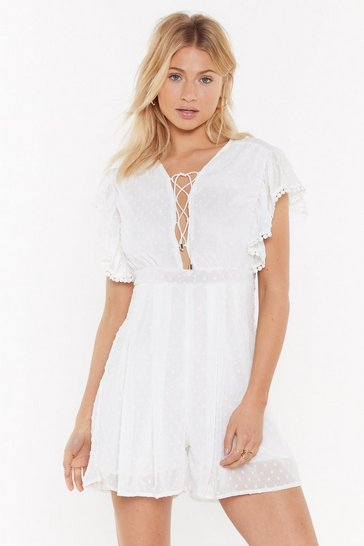 Womens White Dobby Mesh Lace Up Front Playsuit