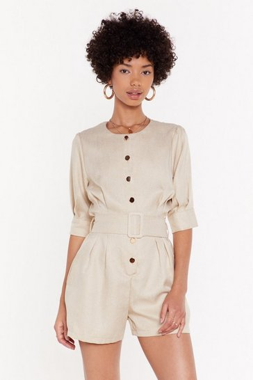 Womens Cream Self Fabric Belt Button Front Playsuit