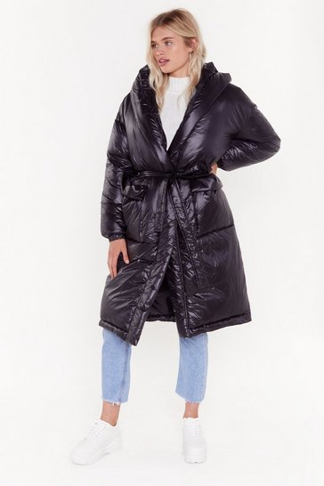 Womens Black Vinyl By Me Padded Belted Coat