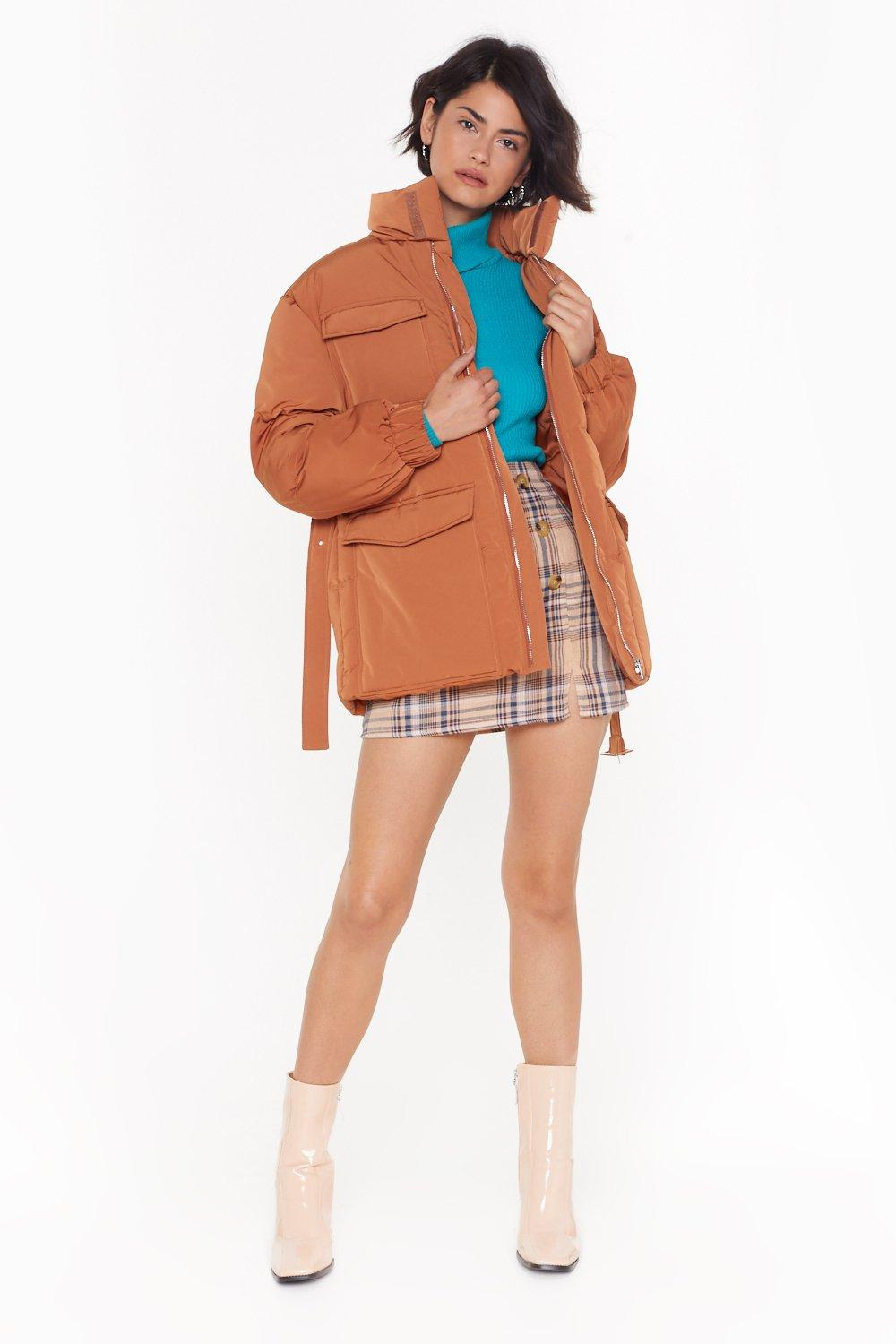 Got 'em Pad High Neck Belted Jacket by Nasty Gal