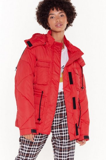 Womens Red Winter Days Padded Jacket