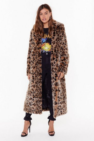 Womens Brown I'm Feline Myself Leopard Faux Fur Coat