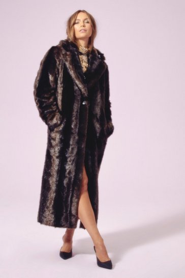 Womens Chocolate Hundred Miles Fur Hour Faux Fur Longline Coat