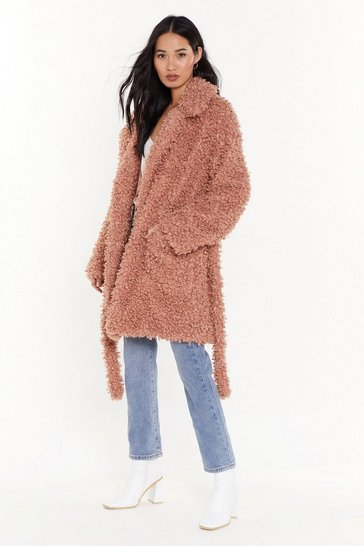Rose Wish You Fur Here Faux Fur  Belted Coat