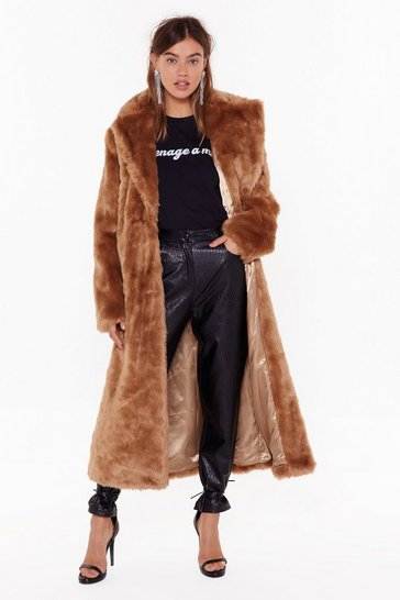 Womens Camel You Fur On My Mind Longline Faux Fur Coat