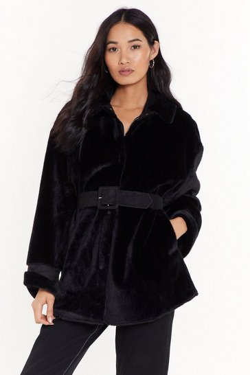 Womens Black Love Never Belt This Good Faux Fur Coat