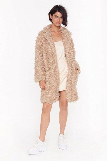 Womens Caramel Cost Fur Impression Faux Fur Longline Coat