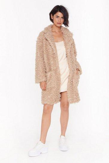 Caramel Cost Fur Impression Faux Fur Longline Coat
