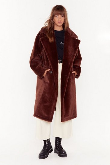 Womens Chocolate Back Fur Good Oversized Faux Fur Coat
