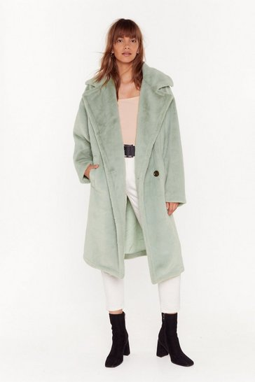 Womens Sage Back Fur Good Oversized Faux Fur Coat