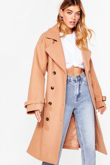 Womens Camel Fall into Fall Belted Longline Coat