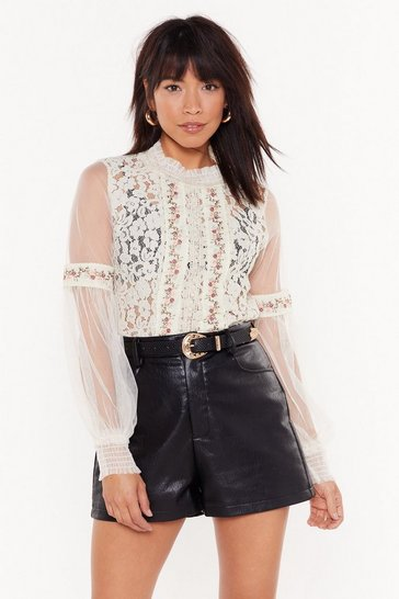 Womens Cream Embroidered Lace Sheer Sleeve Blouse