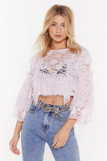 Womens Lilac Tiered Lace Crop Top