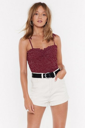 Womens Red All Is Dot Lost Spotty Ruched Top