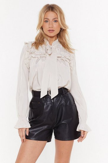 Womens Cream Pussy Bow Ruffle Satin Blouse