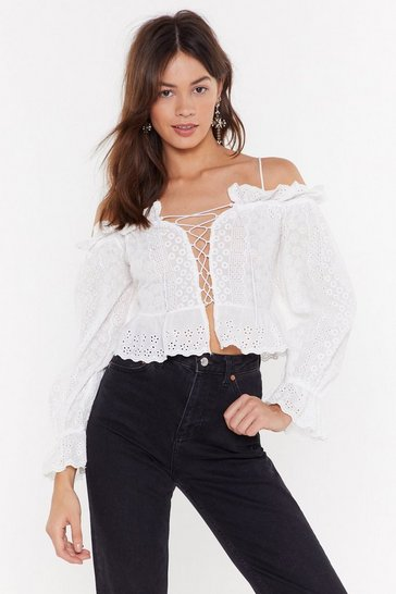 Womens White It's Just an Anglaise Broderie Lace-Up Blouse