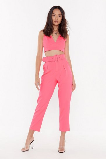 Womens Pink She's the Boss Belted Tailored Pants