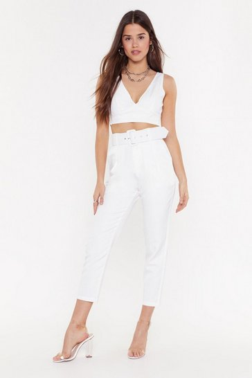Womens White She's the Boss Belted Tailored Pants