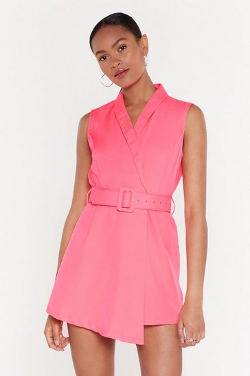 Womens Pink Belt Fabric Belted Playsuit