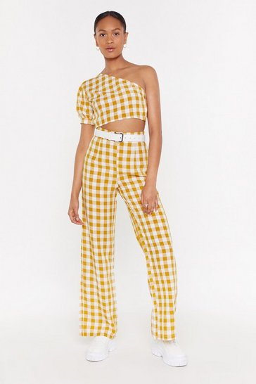 Gingham Wide Leg Co-ord Trouser, Yellow, FEMMES