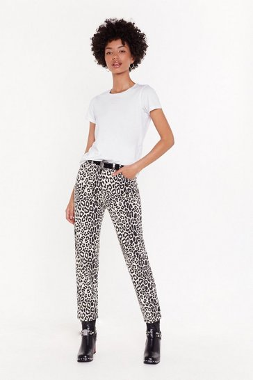 Womens White I've Been Spotted Leopard Mom Jeans