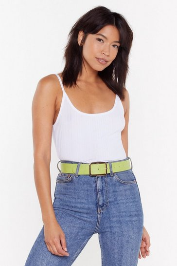Womens Lime Large Rectangle Buckle Belt