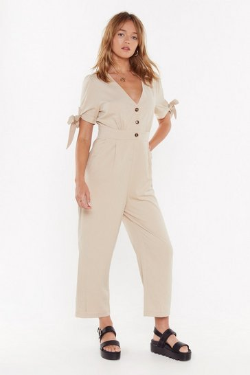 Womens Sand Bunny Tie Button Detail Wide Leg Jumpsuit