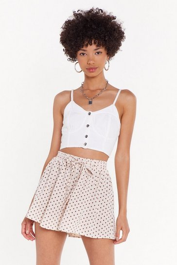 Womens Beige Spot Flippy Short