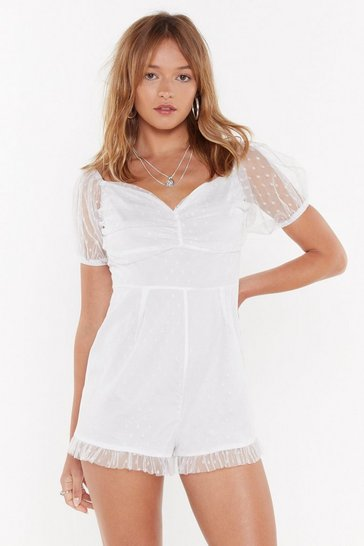 Womens White You Only Get One Spot Mesh Playsuit