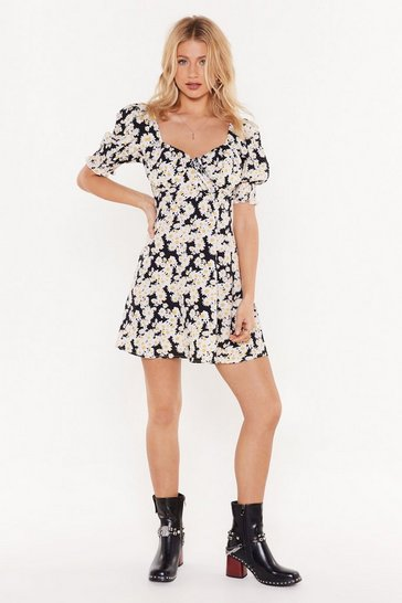 Womens Black Puff Sleeve Square Neck Floral Mini Dress