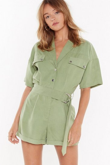 Womens Sage I'm Onto Utility Belted Romper