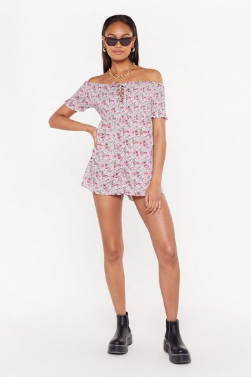 Womens Pink Floral Shirred Romper