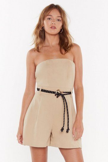 Womens Sand Where Are Utility Strapless Romper