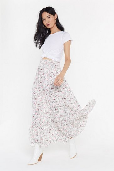 Womens White Ditsy Floral Gypsy Maxi Skirt