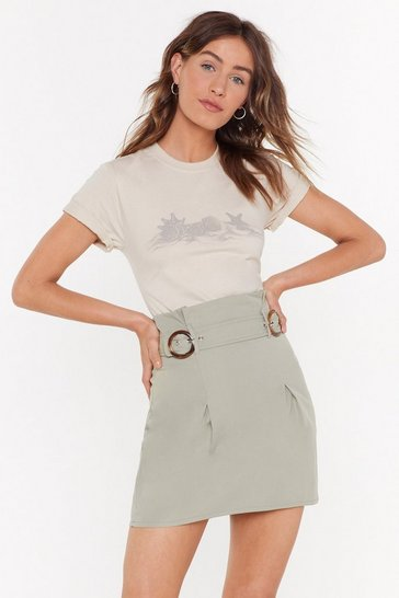Womens Sage Double Buckle Mini Skirt