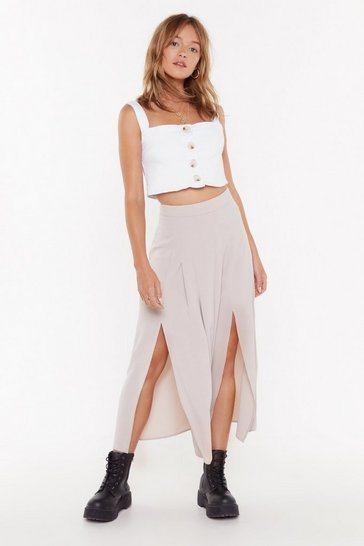 Womens Stone Blame Slit on Me High-Waisted Midi Skirt