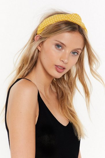 Womens Yellow Check You Out Knot Headband