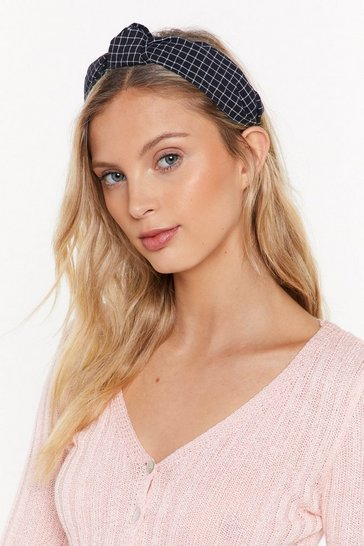 Womens Black Check You Out Knot Headband