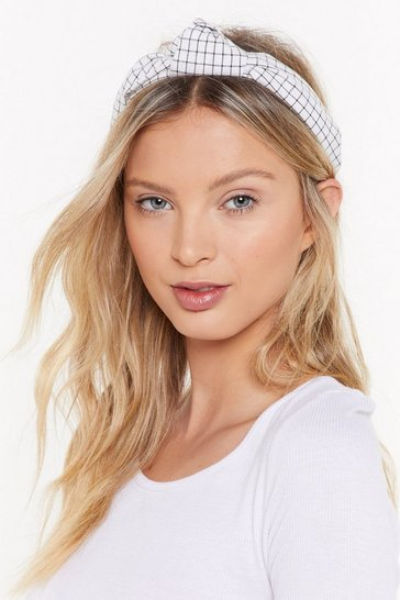 Womens White Check You Out Knot Headband