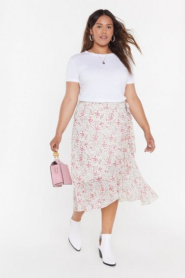 Womens Cream Summer Floral Wrap Midi Skirt