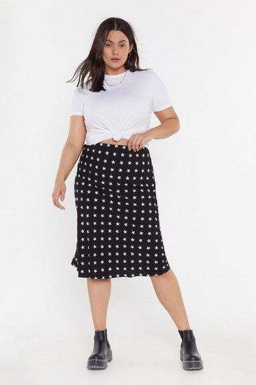 Womens Black Star Behavior Plus Midi Skirt